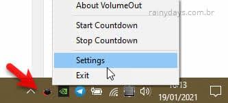 settings configurações do programa VolumeOut