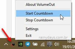 Start countdown, começar contagem regressiva do VolumeOut Windows