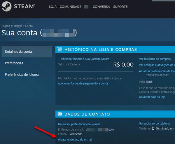 alterar endereço de email Steam pelo site
