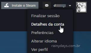 nome perfil detalhes da conta Steam
