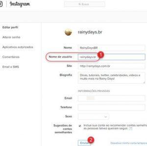 Como mudar nome de usuário do Instagram