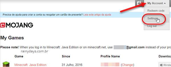 configurações de conta Minecraft Mojang