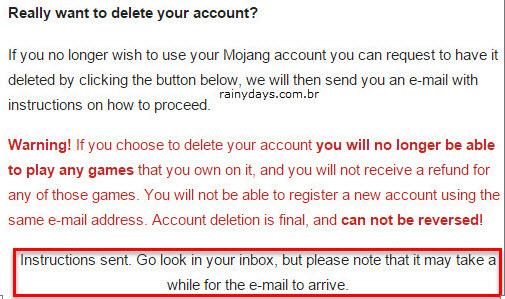 Instruções exclusão de conta enviada email Mojang Minecraft
