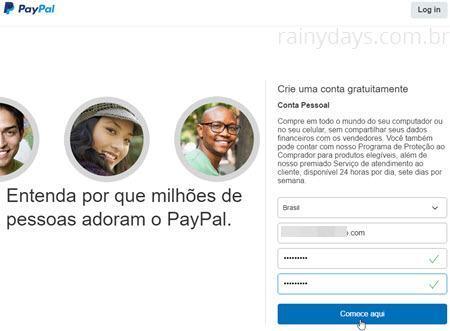 Como criar conta no PayPal 3