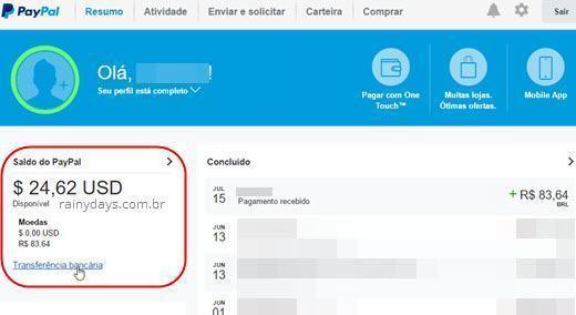 transferir dinheiro do PayPal para conta bancária