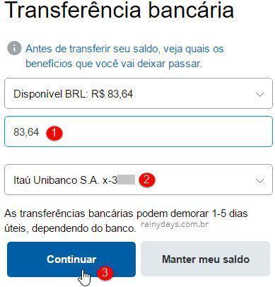 Transferir dinheiro paypal