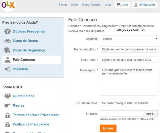 Como cancelar conta da OLX