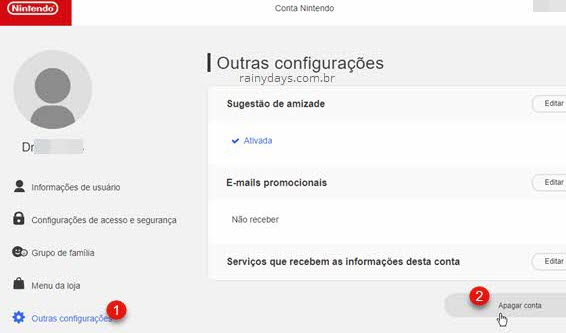 Excluir conta do My Nintendo permanentemente