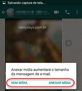 Anexar mídia enviar conversa WhatsApp por email Android