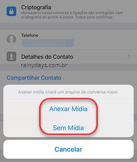 anexar mídai exportar conversas WhatsApp iOS