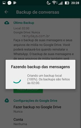 backup de mensagens no WhatsApp
