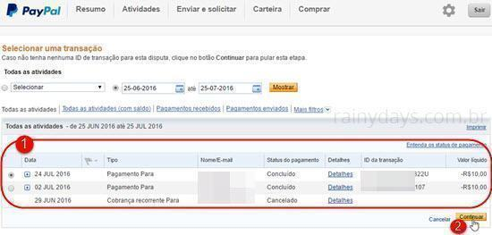 contestar pagamento do PayPal