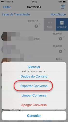 exportar conversa WhatsApp iPhone