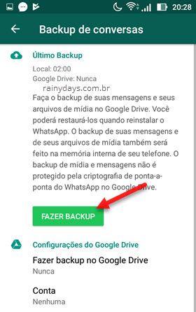 Fazer backup local WhatsApp