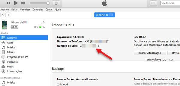 número de série iPHone no iTunes