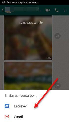 Selecionar email enviar conversa WhatsApp android