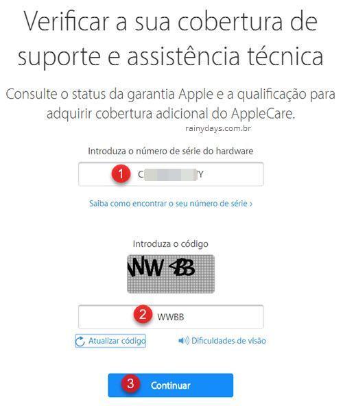 Verificar cobertura de suporte e assistência técnica Apple