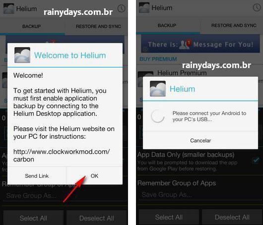 Backup de aplicativos do Android com Helium 2