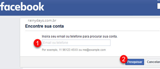 Encontrar conta do Facebook por telefone ou email, como reativar conta do Facebook