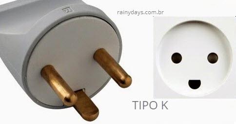 Tipo K plugue e tomada
