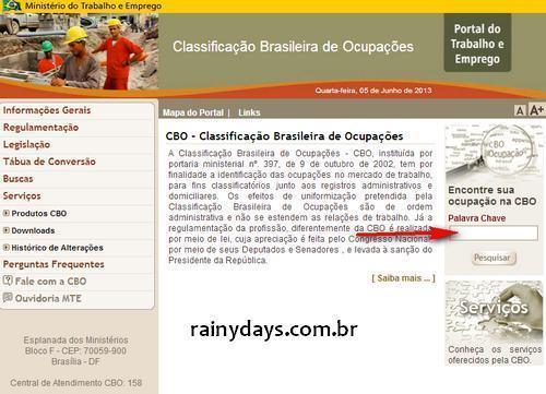 Consultar a Classificação Brasileira de Ocupações