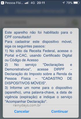 aparelho não habilitado para CPF eCAC app IRPF