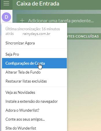 Avatar nome configurações de conta Wunderlist
