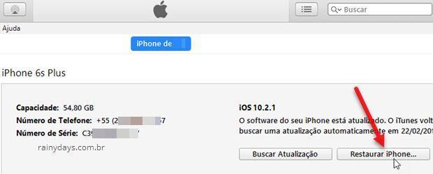 botão restaurar iPhone