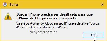 Buscar iPhone precisa ser desativado antes de restaurar