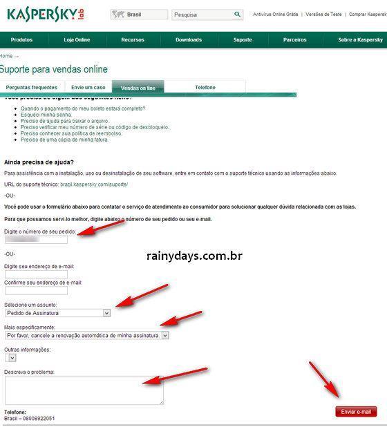 Cancelar Renovação Automática Kaspersky 1
