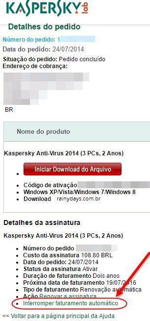 Como cancelar renovação automática Kaspersky 2