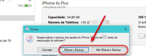 efetuar ou não backup antes de restaurar iPhone