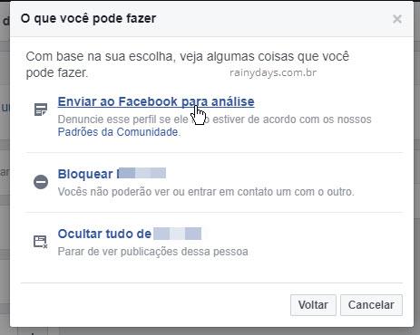 Enviar ao Facebook para análise ou bloquear