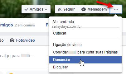 ícone três bolinhas Denunciar perfil Facebook