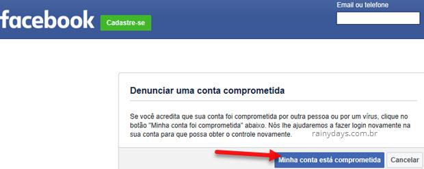 Minha conta está comprometida Facebook hackeado