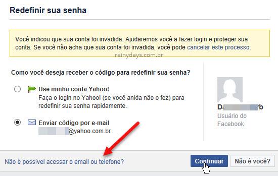 Não é possível acessar email ou telefone conta Facebook
