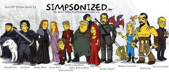 Personagens de Game of Thrones Simpsonizados