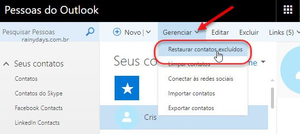 recuperar contatos excluídos do Outlook