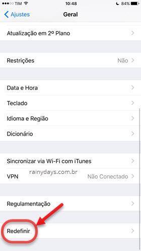 redefinir iPhone para configurações de fábrica