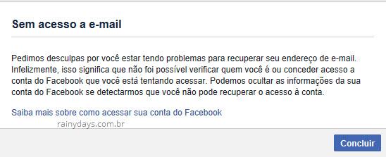 Sem acesso ao email conta Facebook hackeada
