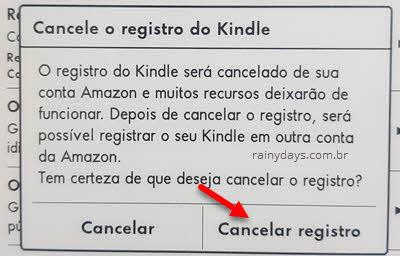 Janela para cancelar registro do Kindle