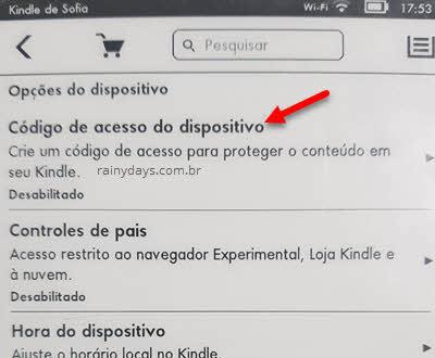 Código de acesso do dispositivo Kindle