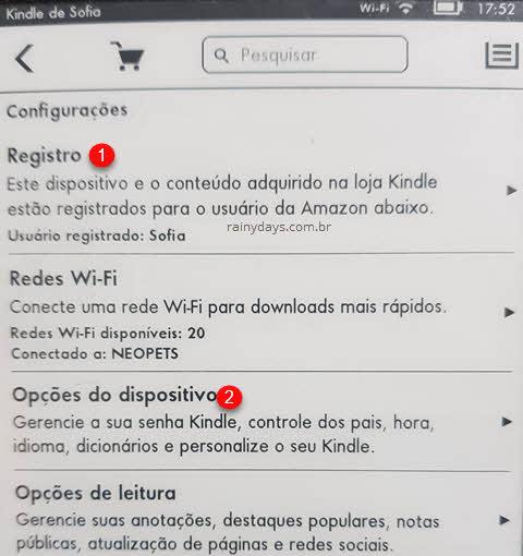 menu configurações do Kindle, Registro e Opções de dispositivo