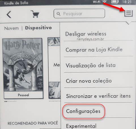 ícone menu lateral Kindle configurações