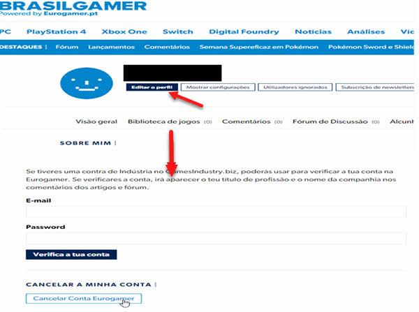 Passo a passo para excluir conta do Eurogamer