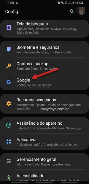 Configurações do Google no Android