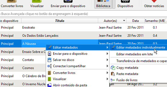 Editar metadados Calibre