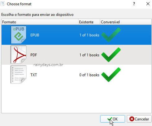 Escolher formato do livro para Enviar para dispositivo Calibre