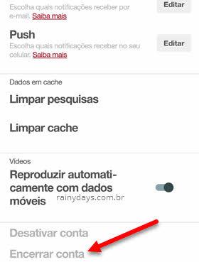 Excluir conta Pinterest pelo celular