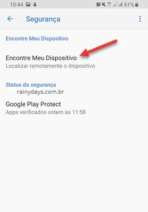 Segurança Encontre meu dispositivo Android